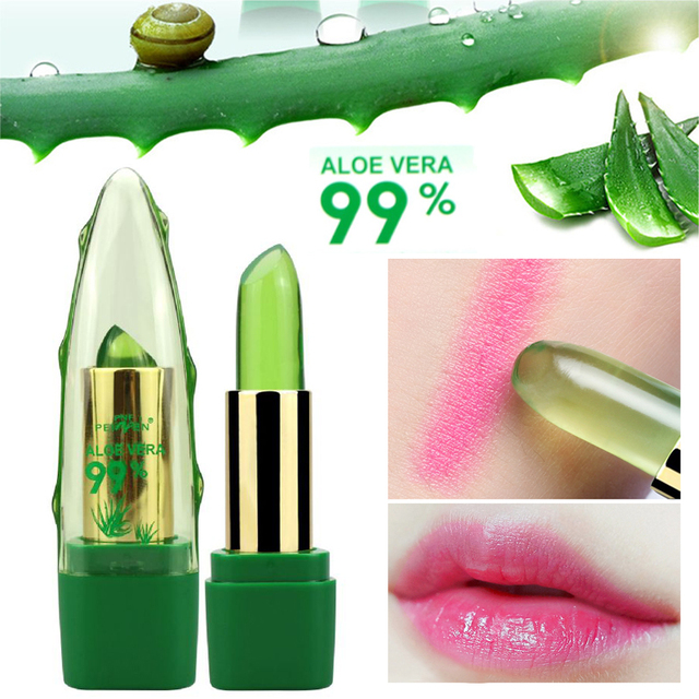 New Batom 99% ALOE VERA Natural Temperature Change Color Jelly Lipstick Long Lasting Moistourizing Lip Makeup Tint Balm