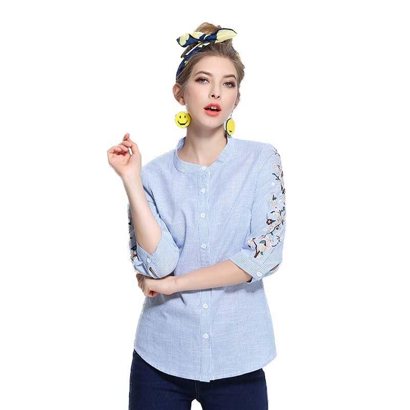 Flower Plus Size Blouse Women Button 5XL Loose Striped Shirts Embroidery Blue Color Roud Neck Three Quarter Women Clothing L-5XL