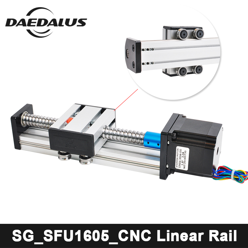 CNC SFU1605 Linear Guide Rail Stage A Linear Guide Rails Linear Actuator System Module Table 100mm/700mm Travel Length + 57MotorCNC SFU1605 Linear Guide Rail Stage A Linear Guide Rails Linear Actuator System Module Table 100mm/700mm Travel Length + 57Motor
