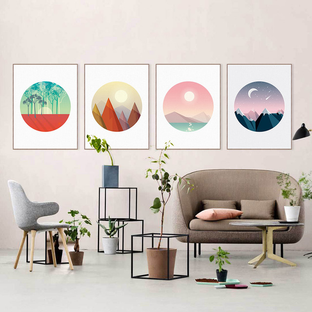Modern Abstract 3D Natural Landscape Moonlight Mountain Canvas Big A4 Art Print Poster Wall Picture Home Decor Painting No Frame