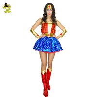 2017 Adult Supergirl Costume Woman Superhero Cosplay Thor Amercian Captain Avengers Superman Costumes Girls Party Gown