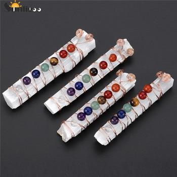 Sunligoo чакра, целебные кристаллы, бусины, проволока, обернутая сырой селенитовой палочкой, палочка для медитации йоги, духовной, балансировки рейки