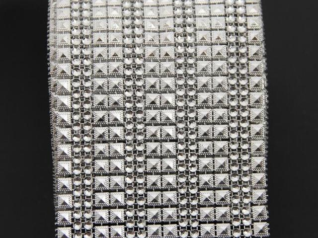 10f22b7f2cba 10 Yards16 rows Silver Pyramid+Round DIAMOND MESH WRAP ROLL SPARKLE RHINESTONE  Crystal Platinum Ribbon