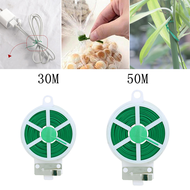 30m 50m New Arrival Garden Twist Tie Wire Cable Reel With Cutter Gardening Plant Bush Flower(China)