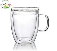 1 x 11.8fl.oz 350 ml Çift Duvar Isıya Dayanıklı Cam Çay Kupa W/Cam Kapak Kolu El Yapımı Temizle Borosilikat cam Bardak
