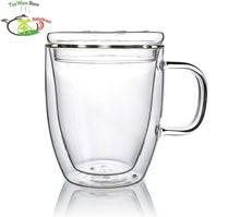 1 x 11.8fl.oz 350ml Double Wall Heat Resistant Glass Tea Mug W/ Glass Lid Handle Handmade Clear Borosilicate Glass Cups