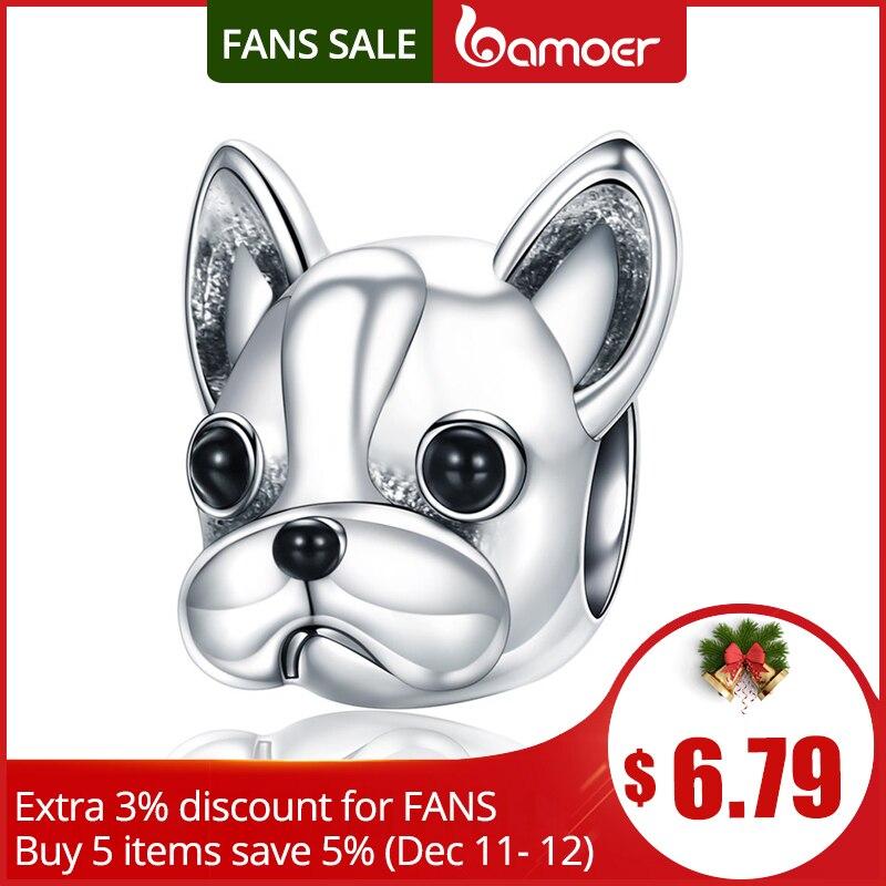 BAMOER de Plata de Ley 925 socios leales francés BULLDOG perro cuentas las mujeres encanto pulseras joyas de perro SCC315