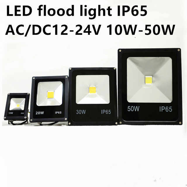 Gratis verzending Nieuwste AC/DC 12-24 V LED armatuur licht 10 W 20 W 30 W 50 W IP65 LED Overstroming Licht Floodlight LED straat Lamp