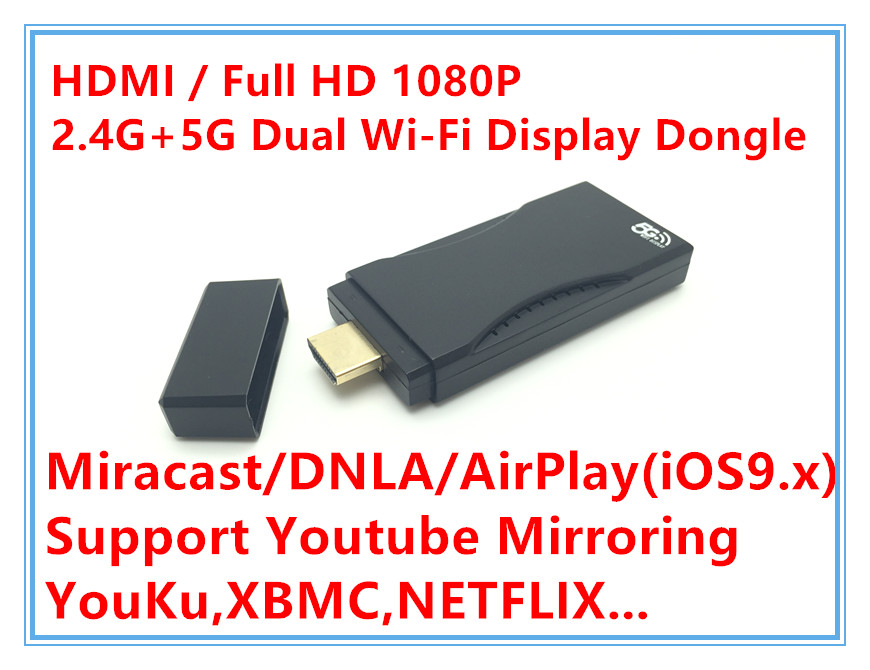 Support Youtube Dual Band 5.8G&2.4G Screen Mirroring Wireless Display Receiver DLNA Airplay Miracast HDMI 1080P Media players