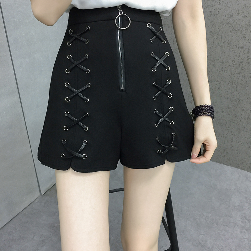 Summer New Harajuku Solid Black Bandage   Shorts   High Waist Criss Cross Casual Wide Leg   Shorts   Plus Size L-4XL Split Hotpants