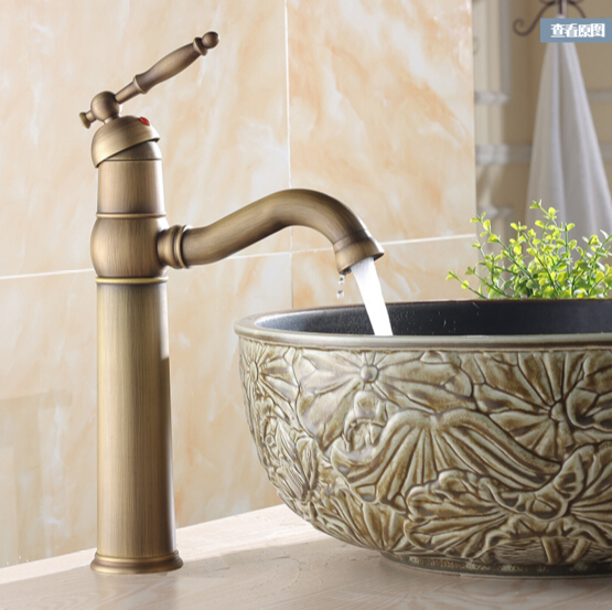 Vintage Style tall antique basin faucet brass bathroom sink mixer wash basin taps with single handle 360 degree swivel spout