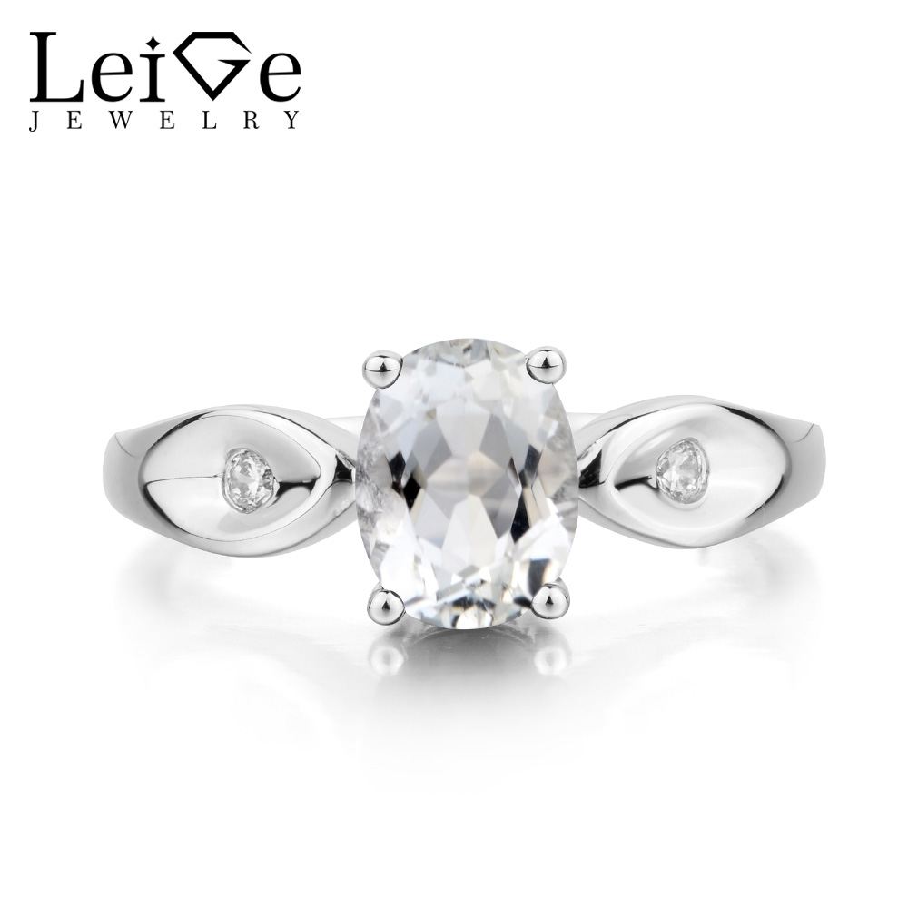 Leige Jewelry Natural White Topaz Ring Engagement Ring November Birthstone Oval Cut Gemstone 925 Sterling Silver Gifts for Women