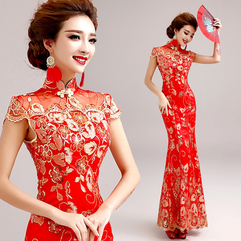 Fashion Red Lace Bride Wedding Qipao Long Cheongsam Chinese Traditional Dress Slim Retro Qi Pao Women Antique Dresses