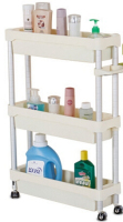 Three Layer Movable Storage Rack Space Aluminum Bathroom Shelf Refrigerator Gap Storage Rack With Wheels
