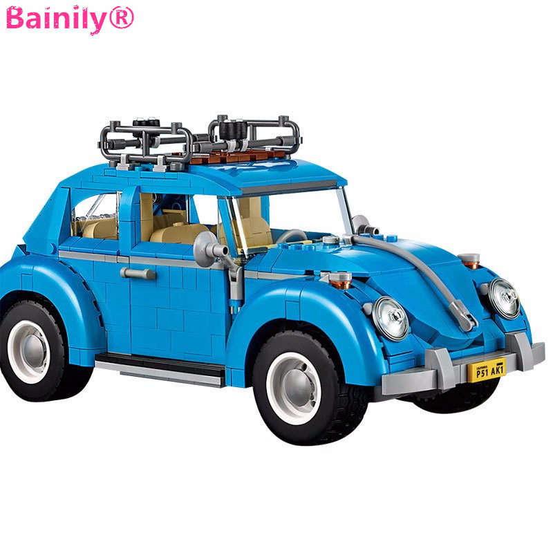 [Bainily]Creator Series City Car Volkswagen Beetle Building Blocks Model Compatible With LegoINGly Technic Toys for Children 0367 sluban 678pcs city series international airport model building blocks enlighten figure toys for children compatible legoe