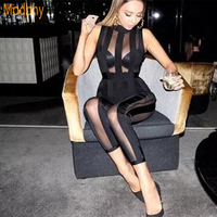 2018 new women sexy mesh see through sleeveless black bandage jumpsuit fashion ladies night club party wear dropshipping HL652