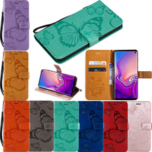 Embossed 3D Butterfly Leather Flip Wallet Soft Phone Silicone Case Cover Shell Coque Funda for Samsung Galaxy J6 J8 2018 J7 DUO