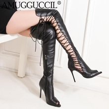 2019 New Plus Big Size 34-46 Black White  Lace Up Zip Fashion Sexy High Heel Spring Females Ladies Women Summer Boots X1815