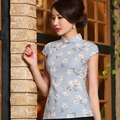 Vintage Women Linen Cheongsam Tops Short Sleeve Blue Flora Mandarin Collar Cheongsam Blouses Button Plus Size Tang Suit Shirts