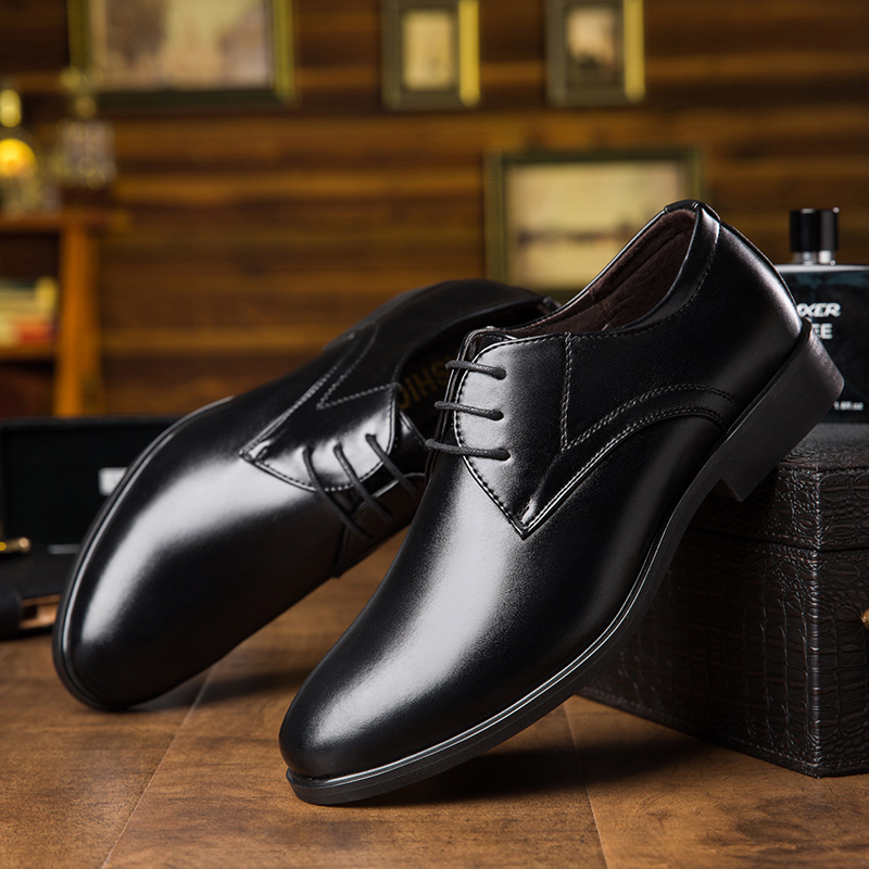 OSCO New Leather Dress Shoes Men High Quality Oxford Shoes For Men Lace-Up Business Wedding Flats Breathable Formal Luxury Work