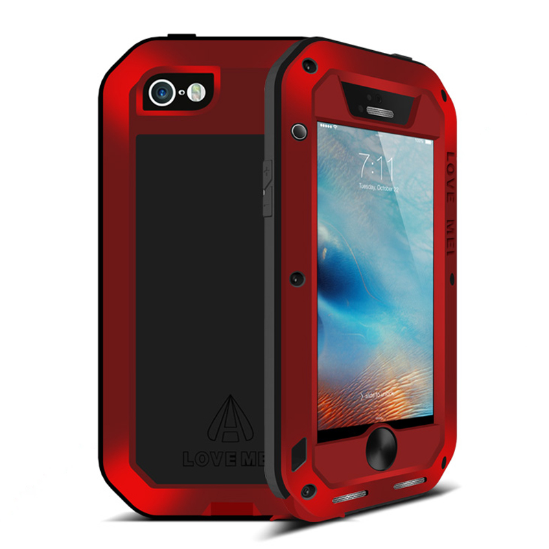 imágenes para Para el iphone de Apple Caso Doom 5S prueba de Choques Impermeable De Aluminio + Gorilla Glass Metal Armor Para Apple iPhone 5 Caso a prueba de golpes