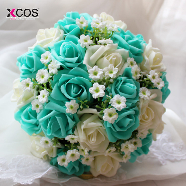 2016 Blue and White Wedding Bouquet Handmade Artificial Flower Rose ...