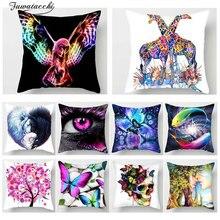 Fuwatacchi  Animal Print Cushion Cover Colorful Painting Butterfly Horse Giraffe Pillowcase Sofa Home Decor Throw Pillows