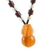 Women Men Powerful Necklace Charm Pendant Pixiu Shaped Brazil Natural Titanium Rutilated Quartz Crystal Pendant 23