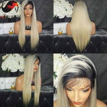 8A Grade Brazilian Ombre Human Hair Lace Front Wig 180 Density Blond Ombre Lace Wig T