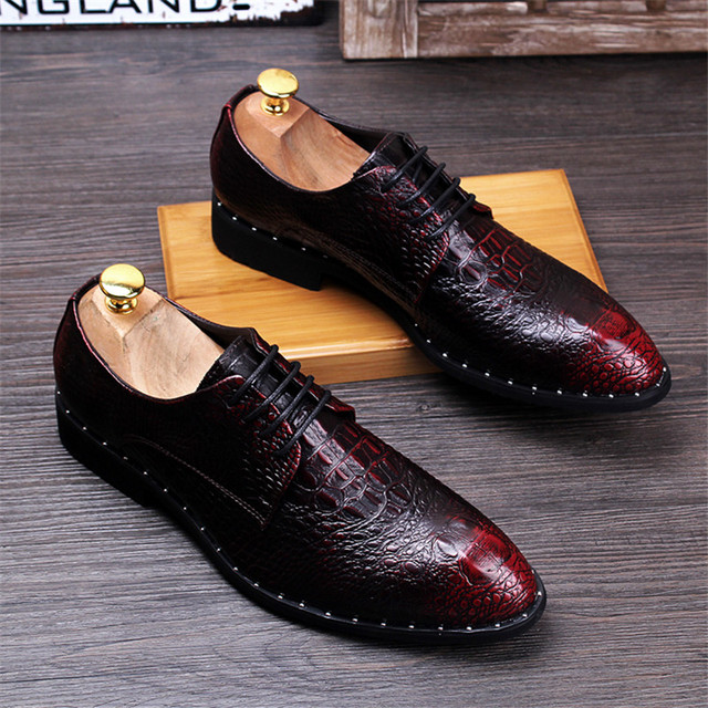 Men's Crocodile Dress Leather Shoes Lace-Up Wedding 2