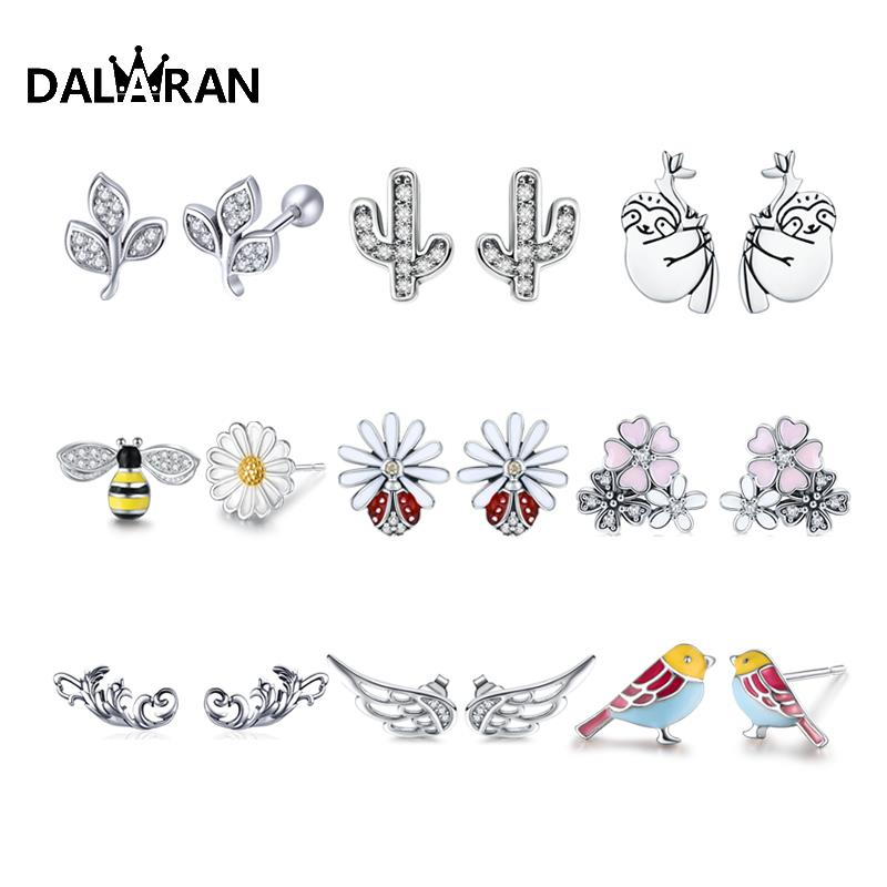 DALARAN 100 Real 925 Sterling Silver Stud Earrings Animal Plant Flower Series Prevent Allergy For Women Jewelry Girlfriend Gift(China)