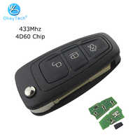 OkeyTech for Ford Mondeo Fiesta Galaxy Transit Remote Control Blank Key Uncut FO21 Blade 3 Button 433Mhz 4D60 Chip Flip Folding