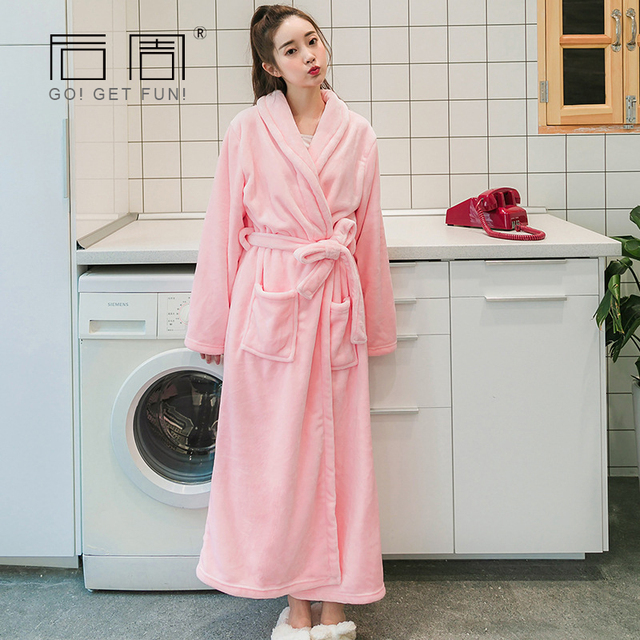 Online shop women warm robe flannel long velour bathrobe pyjamas women warm robe flannel long velour bathrobe pyjamas kimono robe sleepwear bath robe peignoir home clothing home towel robe sciox Image collections