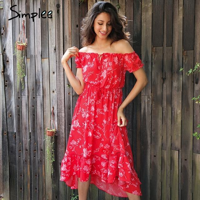 Simplee Vintage off shoulder floral print dress women Lace up sexy long dress Ruffles beach summer maxi elegant dress vestidos