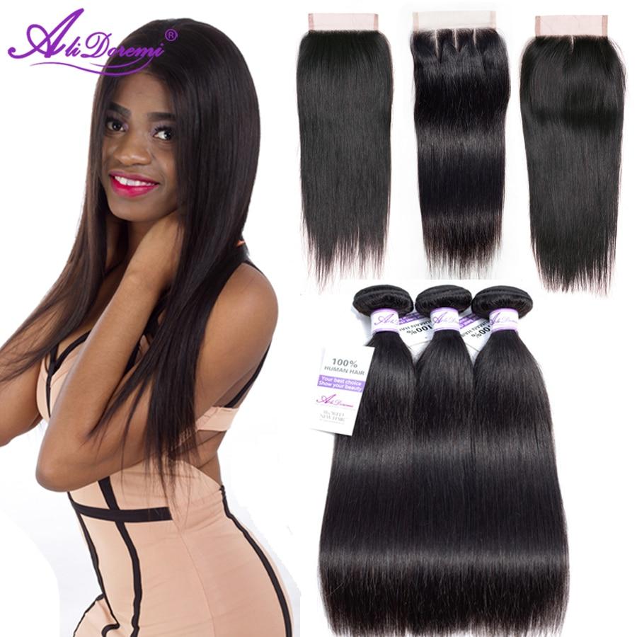 Alidoremi brasilianska Straight Hair 3 Bundles med Closure Middle - Mänskligt hår (svart)