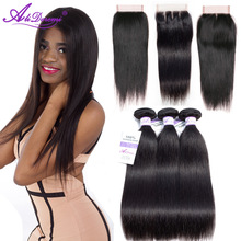 Alidoremi Brazilian Straight Hair 3 Bundles with Closure Middle Three Free part 100% Human Hair Non Remy Nemokamas pristatymas