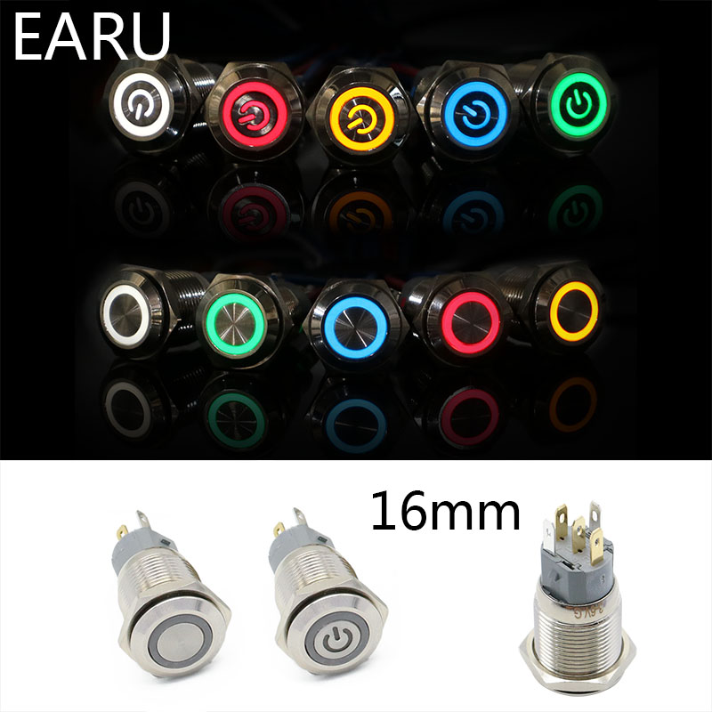 16mm Metal Annular Push Button Switch Ring LED 5-380V 12V 6V 5v Self-lock Momentary Latching Waterproof Car Auto Engine Red Blue