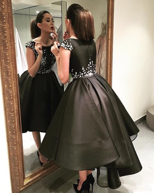 48e37a860f1 Robes De Soiree Arabic Elegant High Low Evening gown 2018 Short Front Long  Back Prom Party