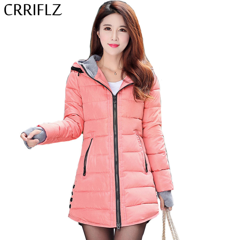 CRRIFLZ nuevos de las mujeres chaqueta de invierno abrigo de corte Slim de algodón acolchado chaquetas de mujer de alta calidad abrigo Parka larga con capucha Casual