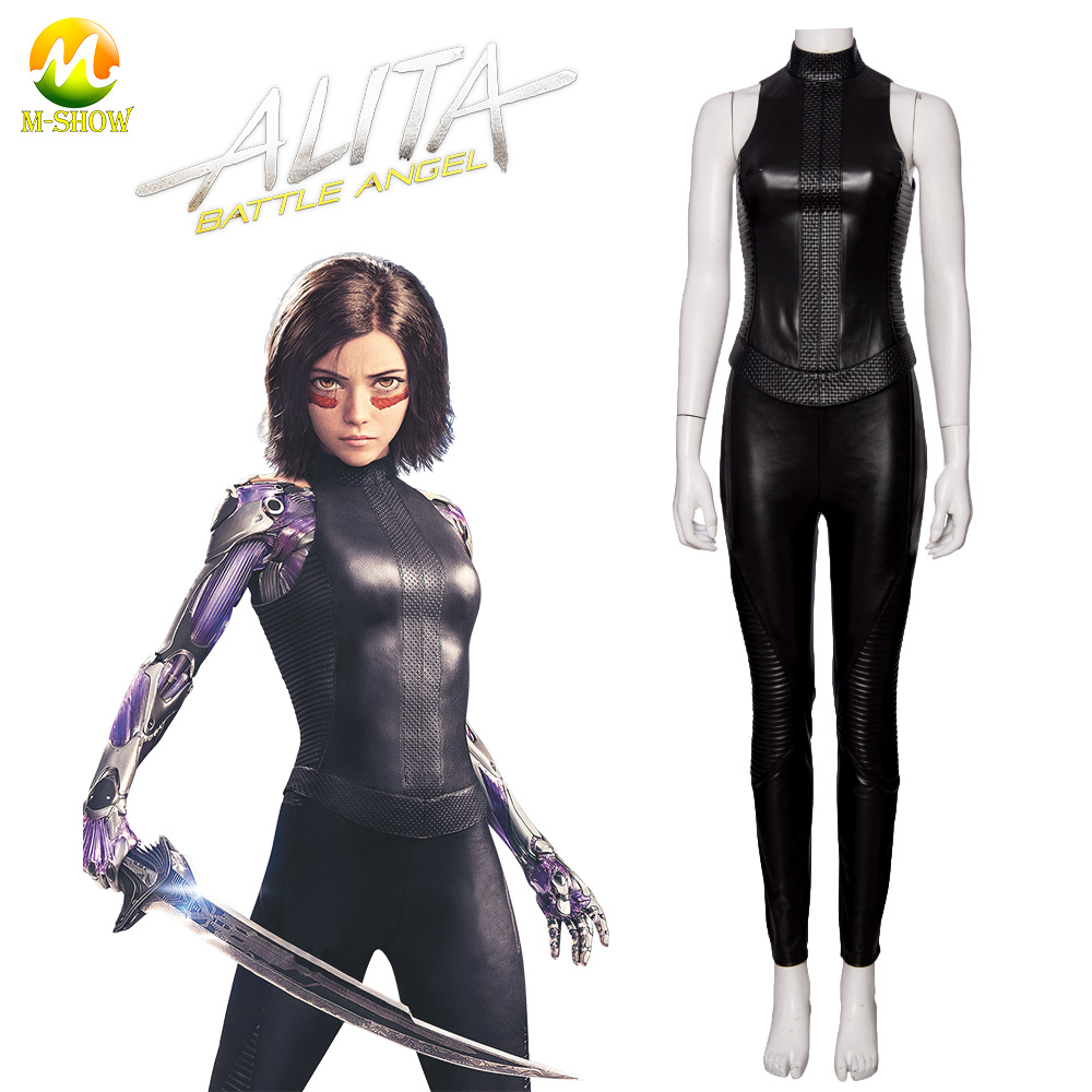 Alita Battle Angel Cosplay Costume Movie Alita Leather Sexy Black Outfit For Adult Women Halloween Carnival