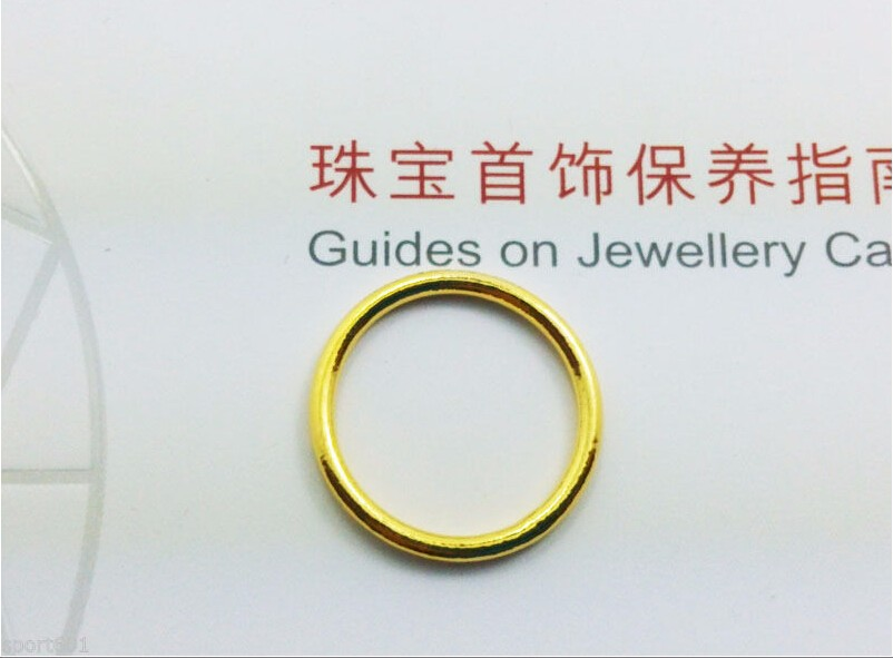 New Hi Q Genuine Solid 999 24K Yellow Gold / Perfect Smooth Design Ring - 2