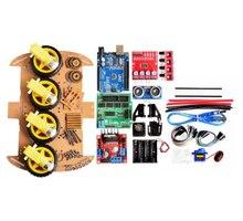 Умный робот-автомобиль с двигателем отслеживания, умный комплект шасси автомобиля, датчик скорости, батарейный отсек 2WD 4WD, ультразвуковой м...