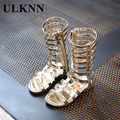 ULKNN 2017 Female Child Sandals Princess Shoes High Shoes Cut-Out Gladiator Baby Boots Girl's Fashion Sandals Size 26-36