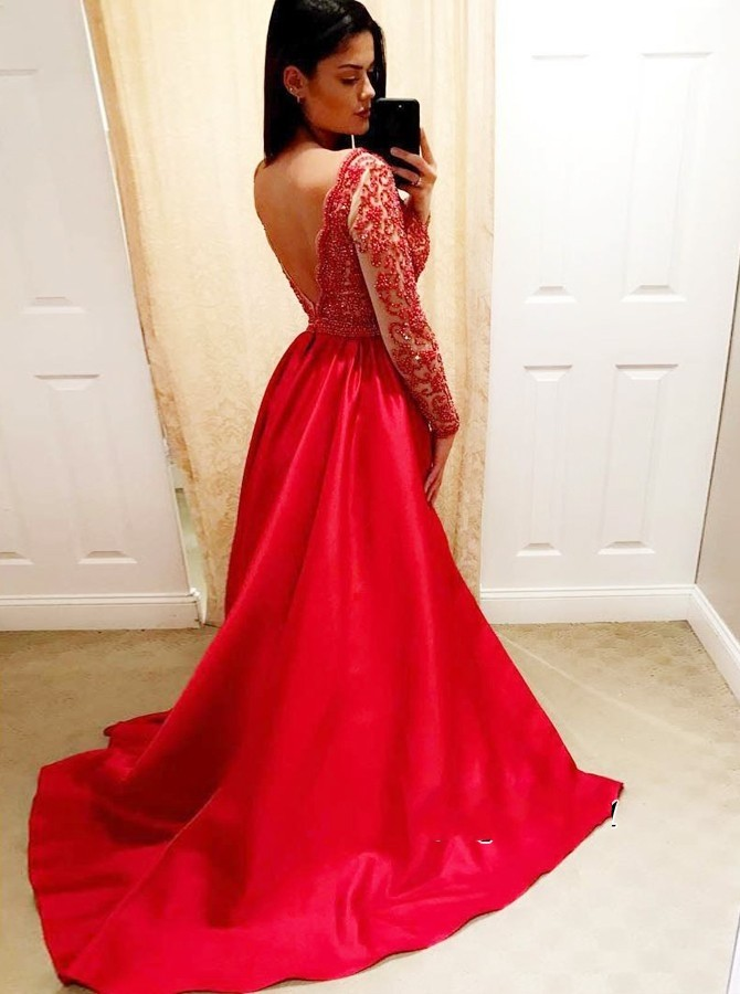 Elegant Red   Prom     Dresses   Deep V-neck Beaded Long Sleeve Backless Evening Formal Party Gown vestidos de fiesta largos