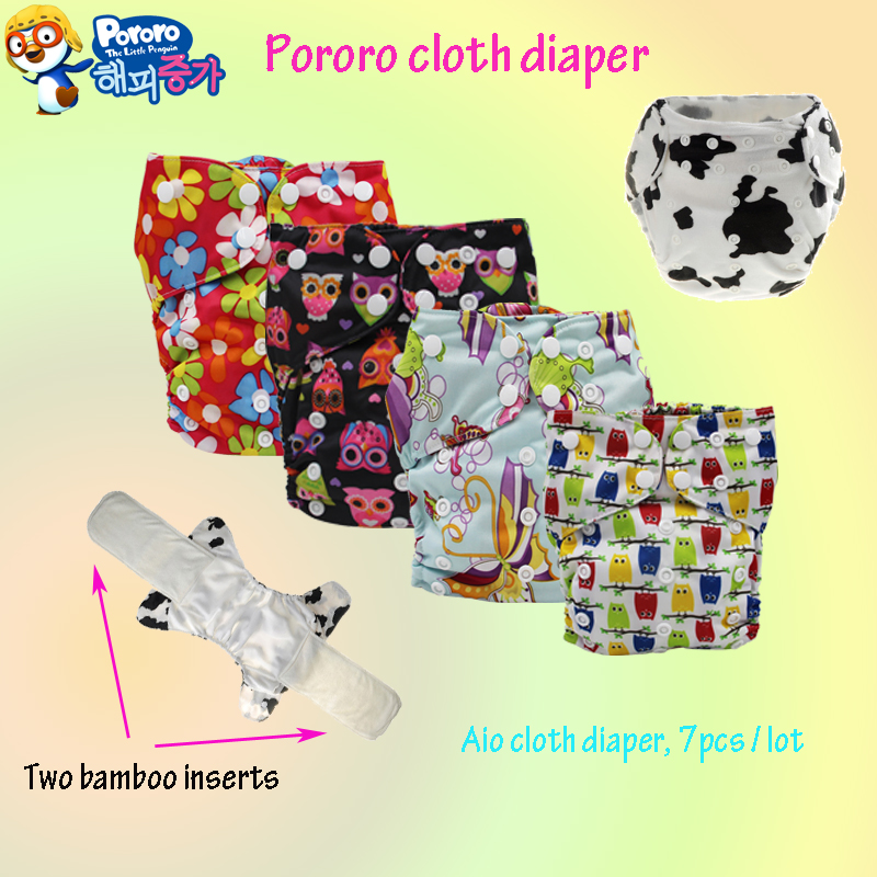 free shipping cute cat printed all in one cloth diaper baby nappy with bamboo inserts AIO