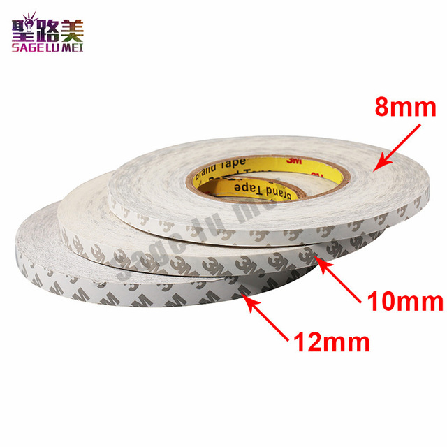 New 50M/Roll 8mm 10mm 12mm 3M Adhesive Tape Double Sided Tape For 3528 5050 Ws2811 Led Strips Tape
