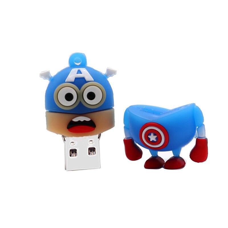 Image 3 - Pen drive cartoon superheros usb flash drive 64GB cute Minions memory stick 32GB 16GB 8GB 4GB superman creative gift pendrive-in USB Flash Drives from Computer & Office
