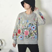 GUTU 2017 Korean Autumn Winter Fashion New Solid Color Round Collar Full Sleeve Loose Embroidered