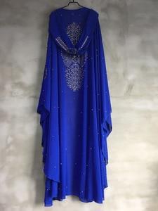 Image 4 - Plus Size Afrikaanse Jurken Voor Vrouwen Dashiki Diamant Kralen Afrikaanse Kleding Abaya Dubai Gewaad Avond Lange Moslim Jurk Hooded Cape