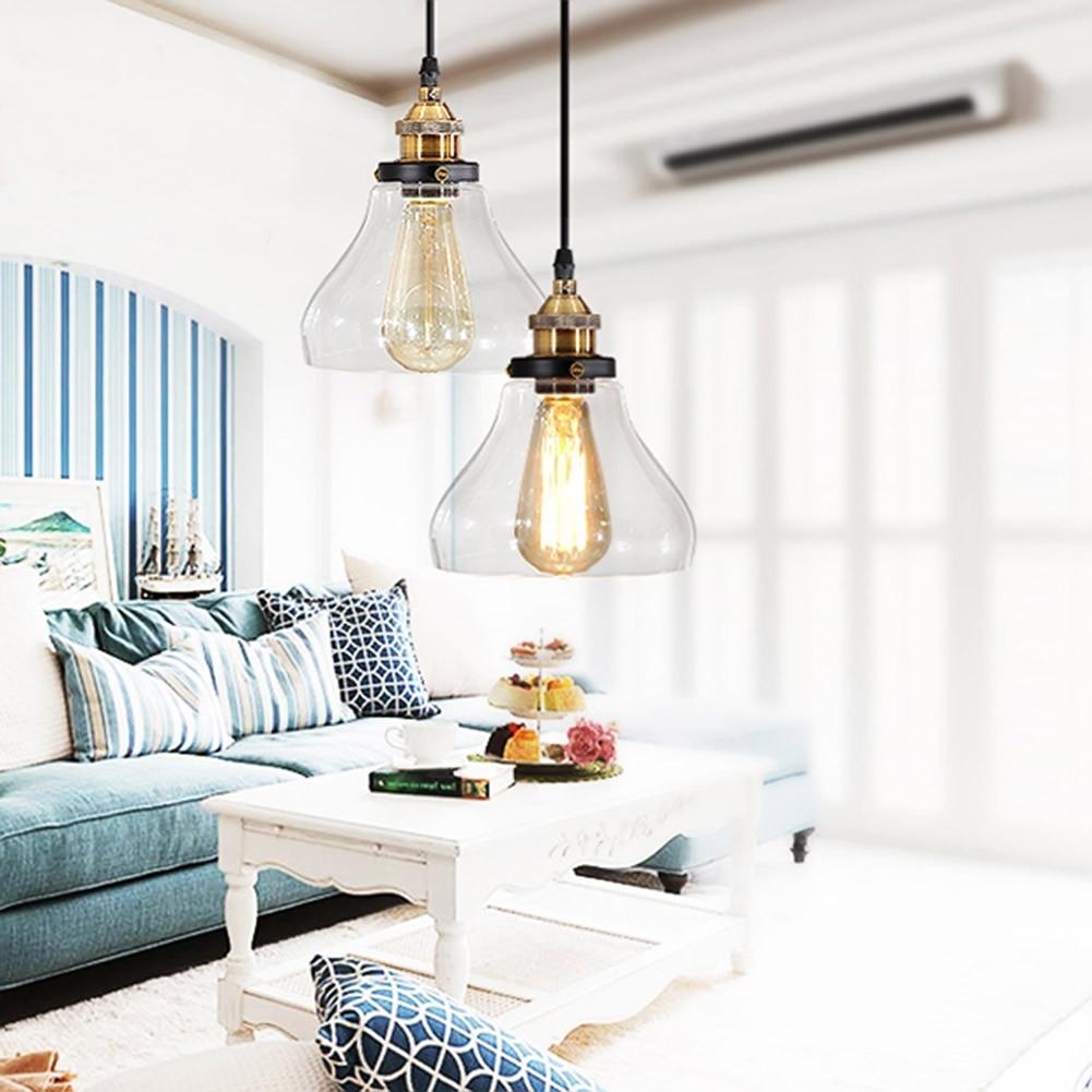 Modern Style Light Pendant Copper Glass Hanging Lamp E27 Adjustable For Home Decor